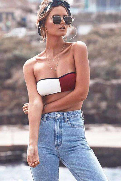 White N Red Color Patch Bandeau Tube Top