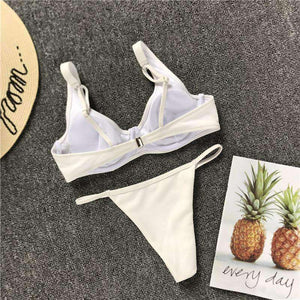 Simple Solid Color 2 Pieces Bikini Set - Lupsona
