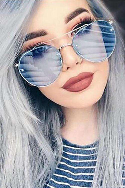 Bingkai logam Laut Biru Cat Eye Sunglasses