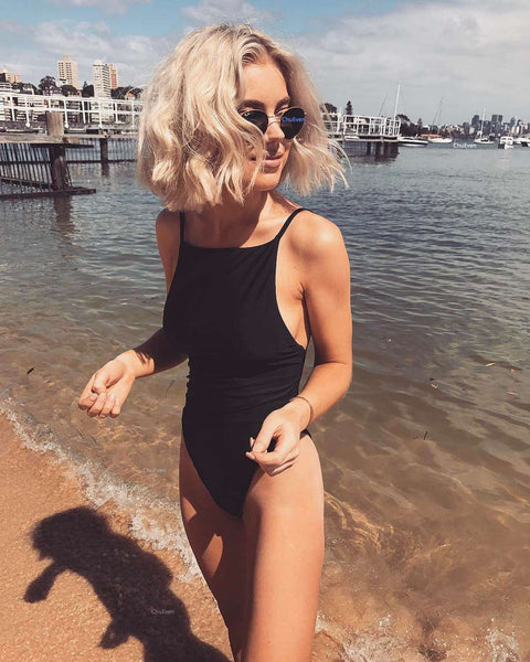 Solid Barvni Back Bandage One Piece Swimsuit