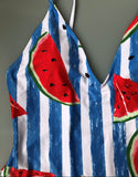 cute watermelon printed backless one-piece swimsuit - Lupsona