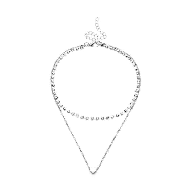 Little Heart Rhinestone Choker Collarbone Necklace - Lupsona