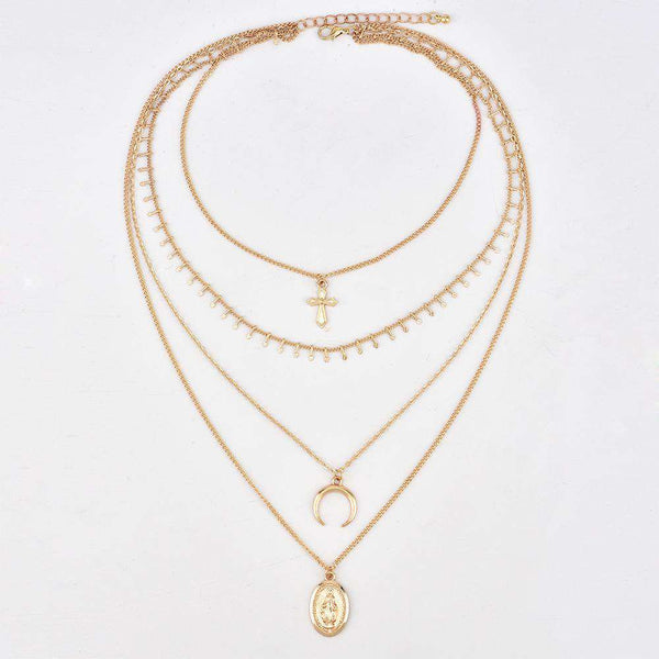 Crescent Cross Multi-layer Neckarbone Necklace - Lupsona