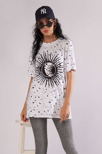 Sun Stars Moon Print T-shirt Mini Dress