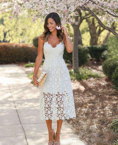 V Neck Floral Lace Hollow Out Strappy Calf Dress - Lupsona