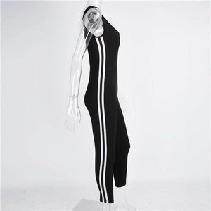 Side Two-lines Stripes Backless Slim Jumpsuit - Lupsona