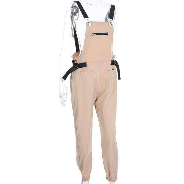 Front Zippers Pockets Casual Overalls - Lupsona