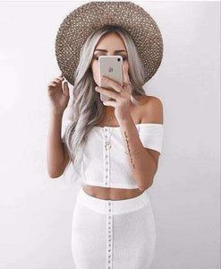 Off-the-shoulder Crop Top Midi skjørt 2-delers kjolesett - Lupsona