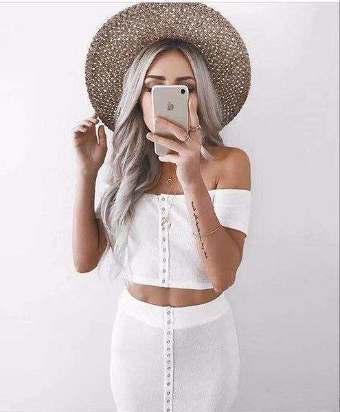 Off-the-shoulder Crop Top Midi-kjørt 2 Piece Dress Set