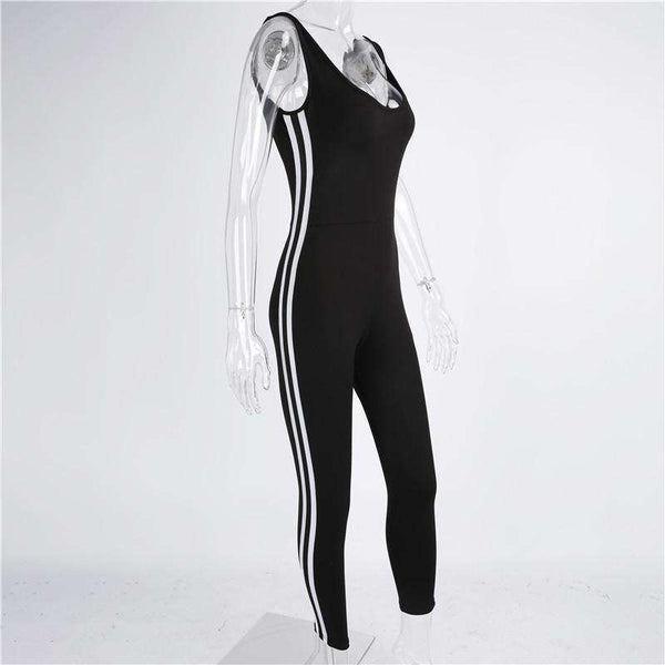 Side Two-lines Stripes Backless Slim Jumpsuit
