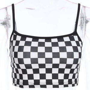 Svartvitt Checker Cool Crop Top - Lupsona