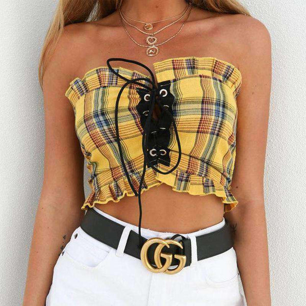 Falbala Lace-up Tartan Strapless Crop Top - Lupsona