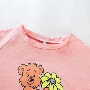 Cute Bear Print Short Sleeve T-Shirt - Lupsona
