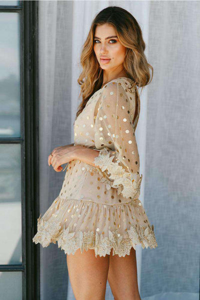 Floral Lace Polka Dots Flare Sleeve Mini Dress - Lupsona
