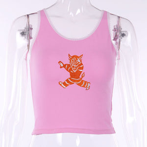 monster embroidery strappy tank crop top - Lupsona