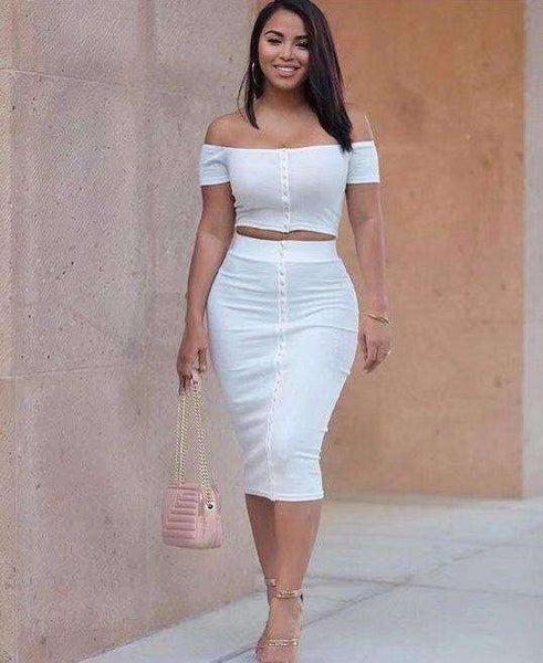 Off-the-shoulder Crop Top Midi Skirt 2 Piece Dress Set