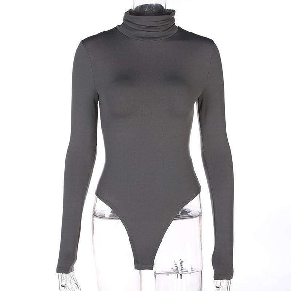 Solid Color Turtleneck Fleece Bodysuit Top