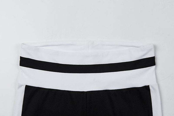Black N White Patch Zweiteiliges Yoga Set - Lupsona