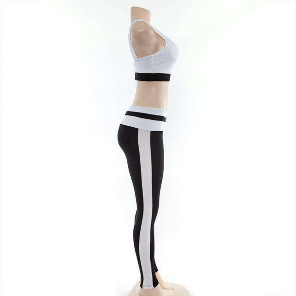 Svart N Hvit Patch To-Strikk Yoga Set - Lupsona