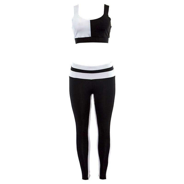 Black N White Patch Two-pieces Yoga Set - Lupsona