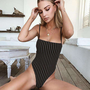 Stribemønster Strappy Bodysuit Top - Lupsona