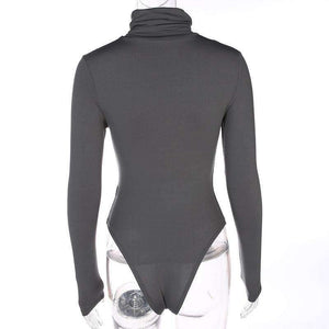 Einfarbig Rollkragen Fleece Body Top - Lupsona