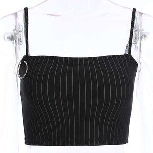 Metal Ring Stripes Strappy Crop Top Nederdel Set