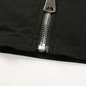 Double Buckles Zipper Crop Tube - Lupsona
