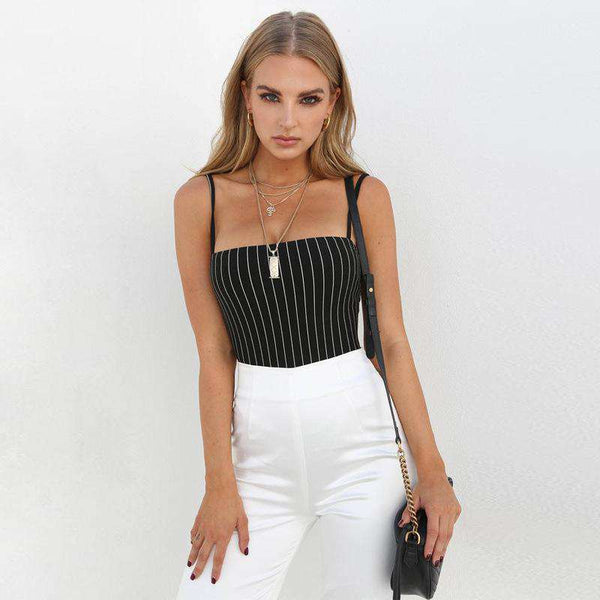 Полосатый паттерн Strappy Bodysuit Top