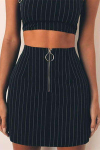 Metal Ring Stripes Strappy Crop Top Skirt Set