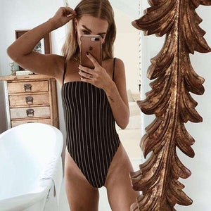 Stripes Pattern Strappy Bodysuit Top - Lupsona