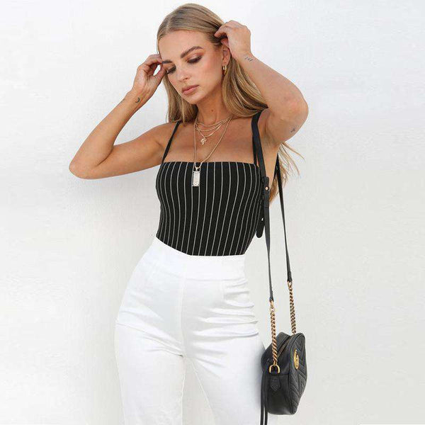 Stripes Pattern Strappy Body Top
