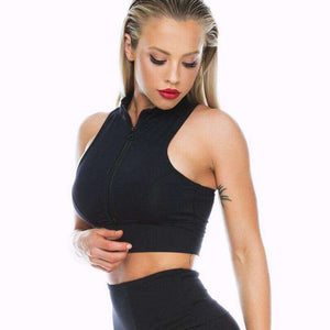 Zipper Turtleneck Sports Tank Top - Lupsona