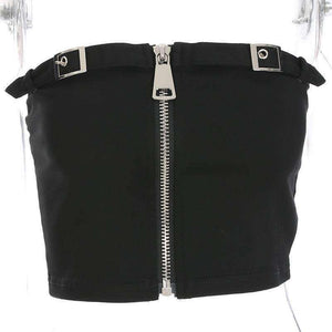 Double Buckles Zipper Crop Tube Top - Lupsona