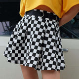 Cool Checker Print Pleated Rock - Lupsona