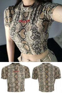KILLER Snake Print Short Sleeve T-Shirt - Lupsona