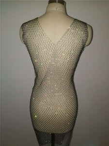 Sparkle Diamond Fishnet Side Schlit Kleed - Lupsona