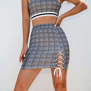 Top Stripes Tube Crop Top Lace-up sukne Set - Lupsona