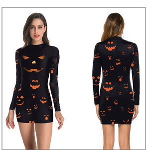 halloween 3D printed slim bodycon dress