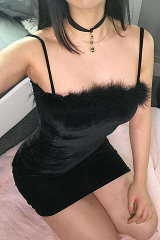Sort Furry Bodycon Slip Kjole