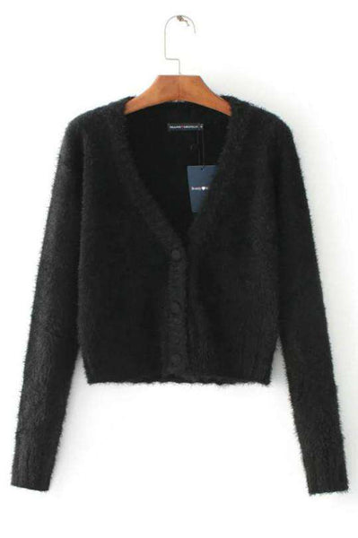 Mohair Crop Cardigan Pulover