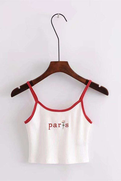 Paris Rose Vezenje Strappy Crop Top