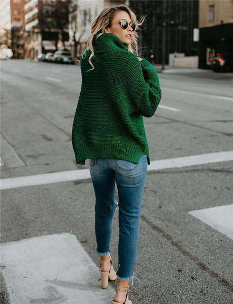 turn-down collar solid color oversized sweater