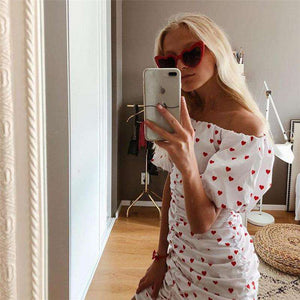 Heart Print Off-the-umăr pliat Bodycon rochie - Lupsona