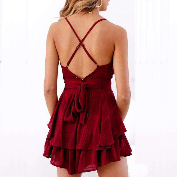 V Neck Backless Plaid Strappy Playsuit