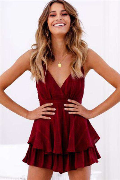 V Neck Backless Plaid Strappy Playsuit Romper