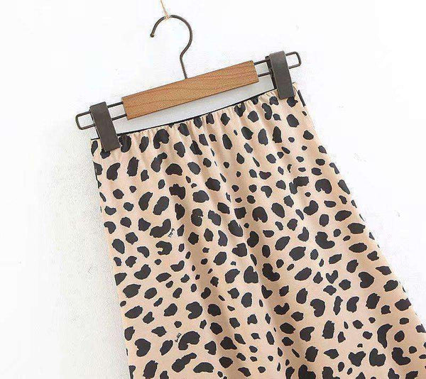 Leopard Print High Waist Calf Skirt - Lupsona