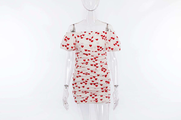 Heart Print Off-the-bahu Pleated Bodycon Dress - Lupsona
