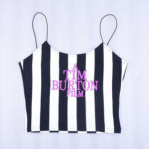 letters embroidery vertical stripes crop top - Lupsona