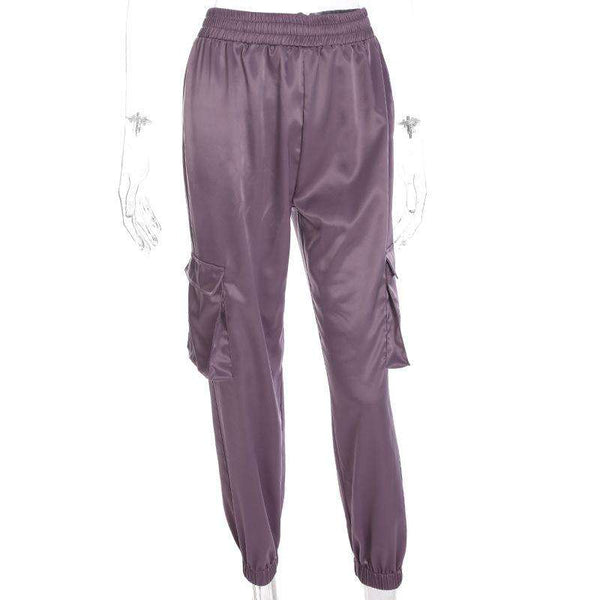 Solid Color Pockets Casual Jogger Pants
